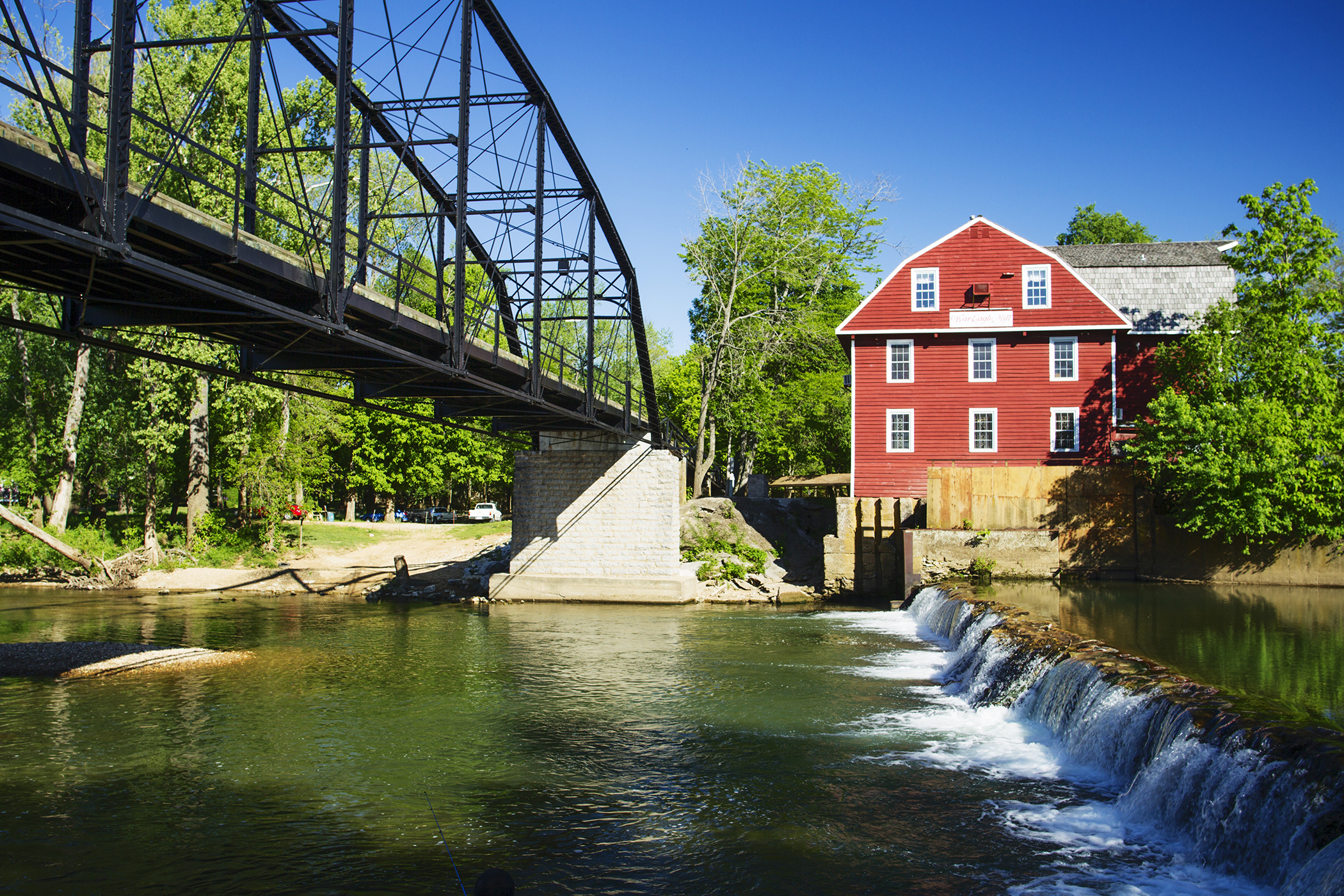 Rogers, Arkansas. The steel-truss War Eagle  bridge, built in 1907, is listed on the National Register of Historic Places.