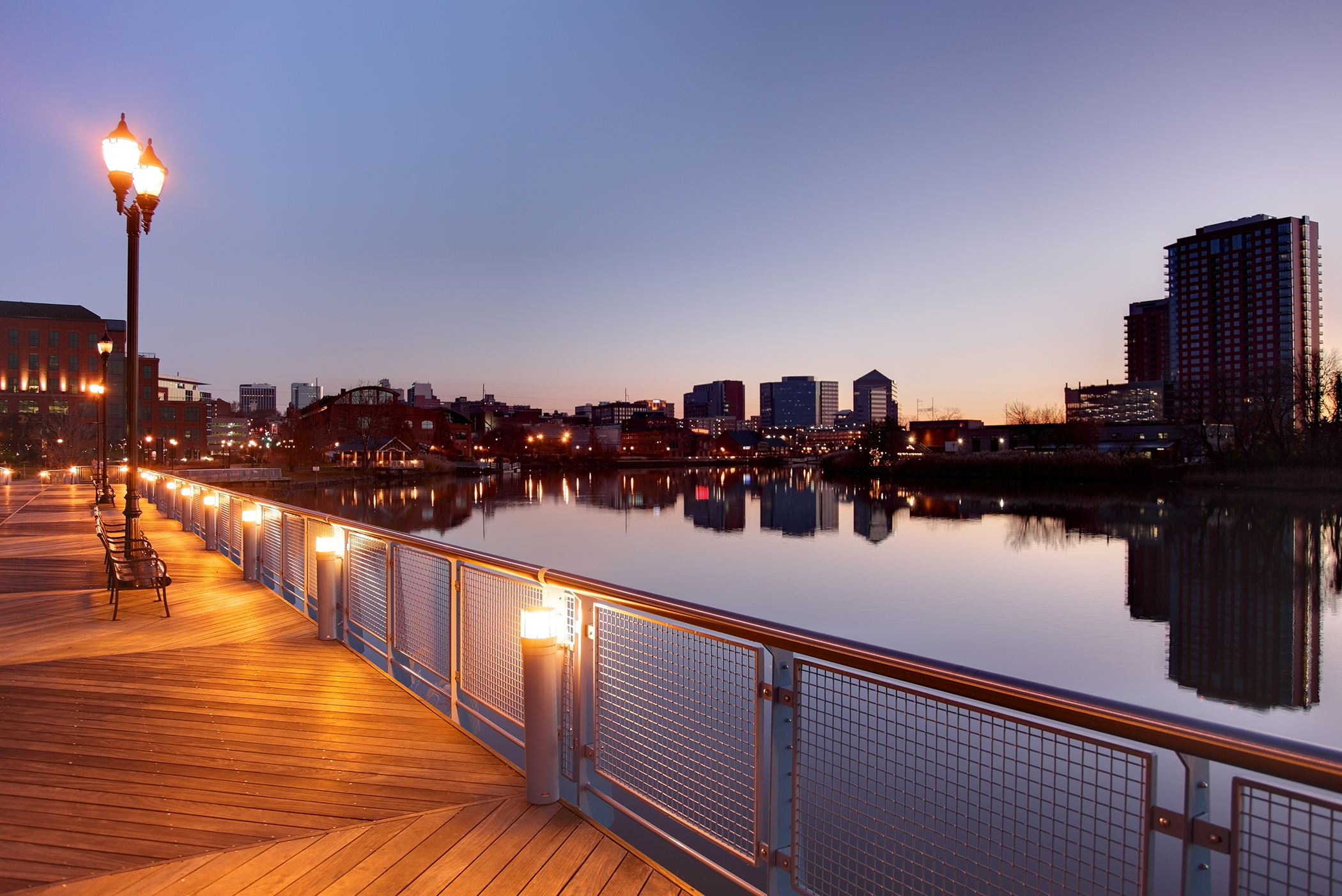 Wilmington, Delaware. At the confluence of the Christina and Brandywine rivers, Wilmington has been undergoing a waterfront revival.