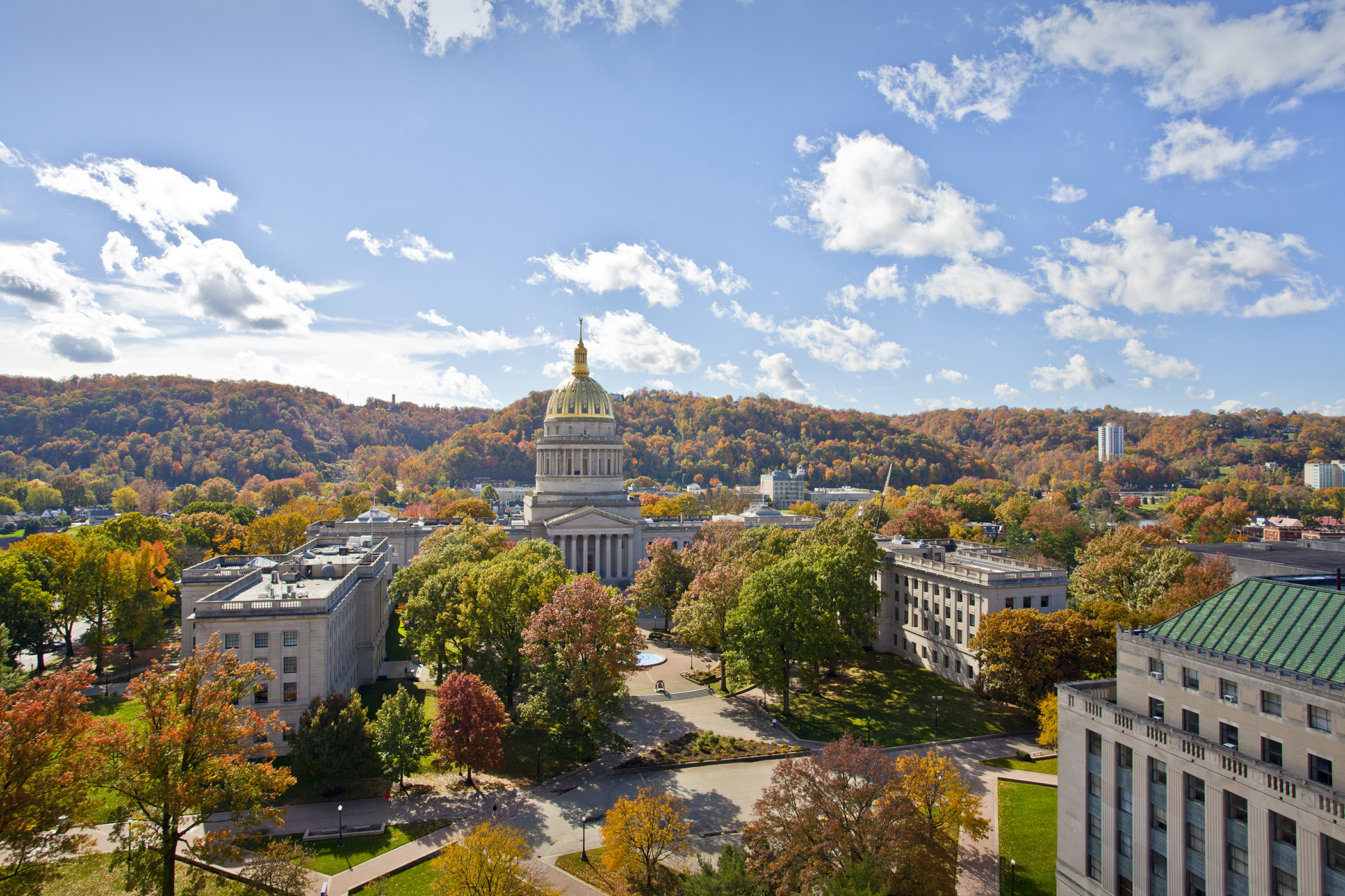 Charleston, West Virginia. Fall looks good on Charleston from across the North Plaza of the West Virginia State Capitol building in autumn.