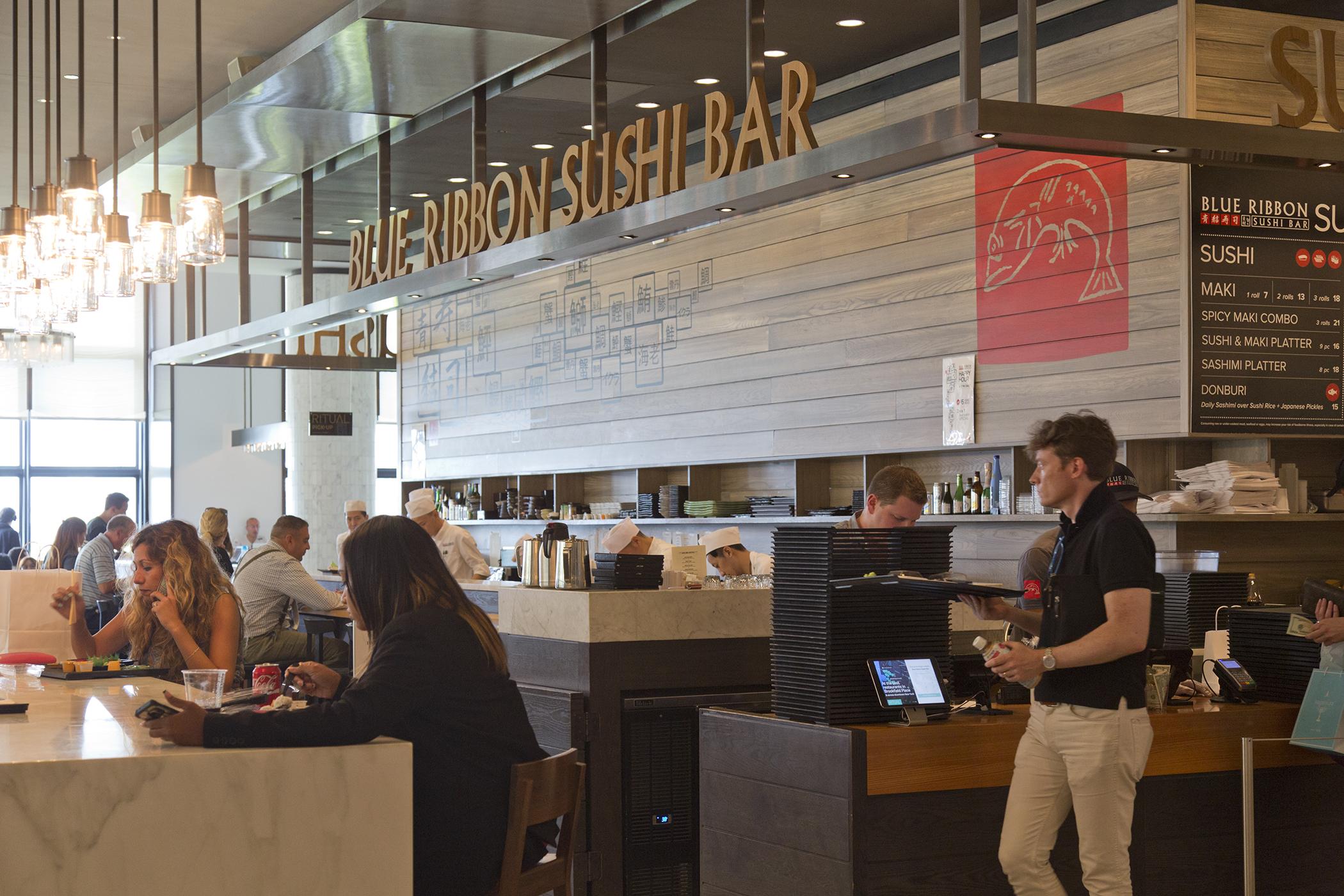 Blue Ribbon Sushi Bar inside of Hudson Eats food court, Brookfield Place, New York.