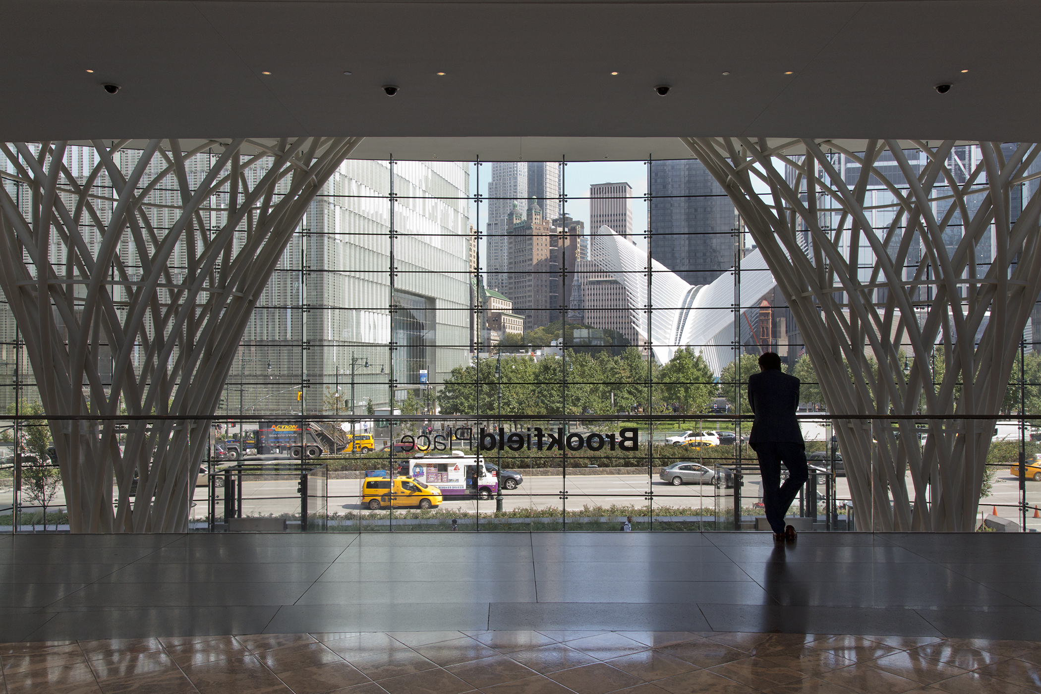 The view of 1 WTC and Santiago Calatrava's transportation hub from Brookfield Place, New York.
