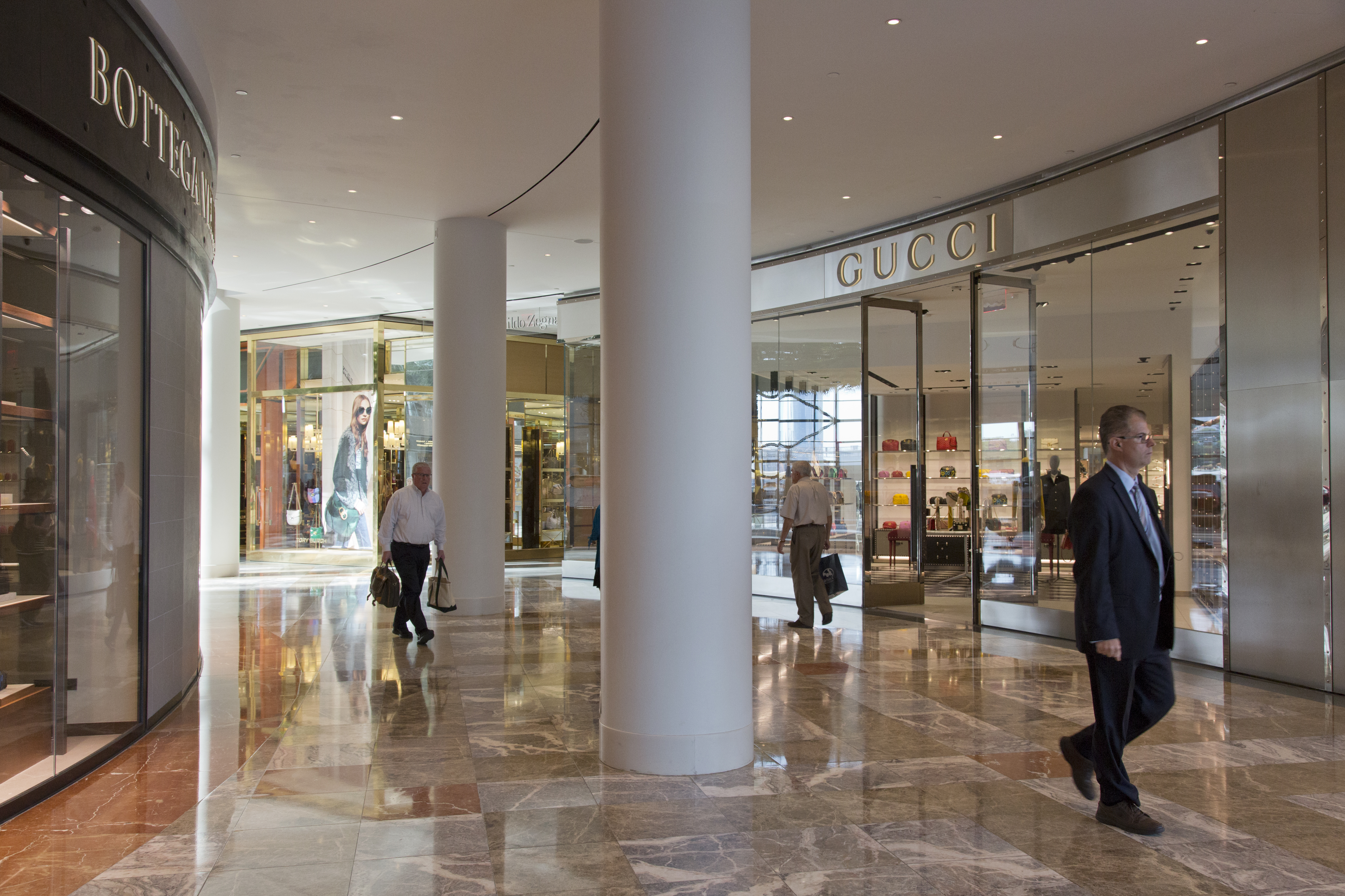 High-end retail stores inside of Brookfield Place, New York.