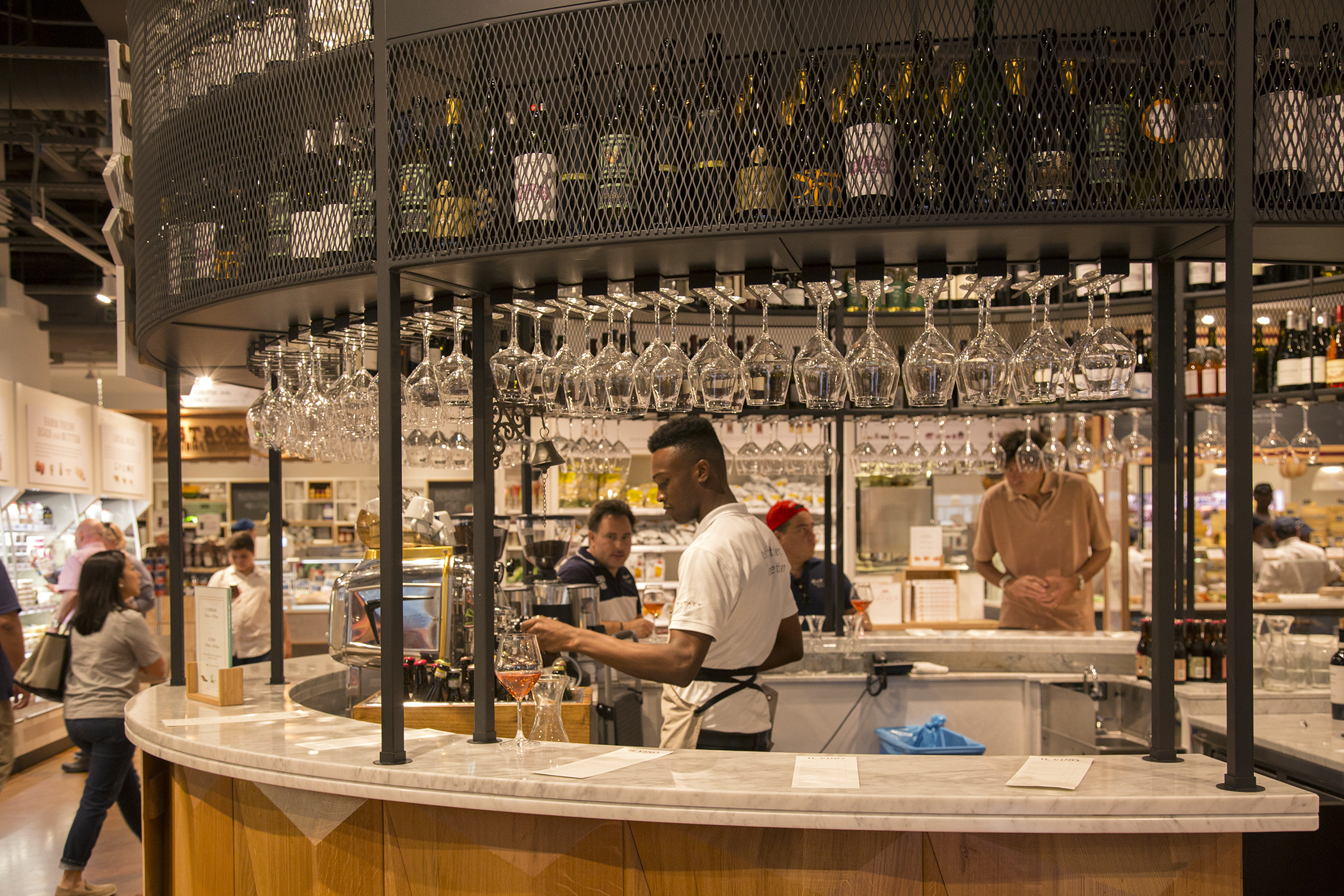 The wine bar inside of Eataly, Westfield World Trade shopping mall, New York.