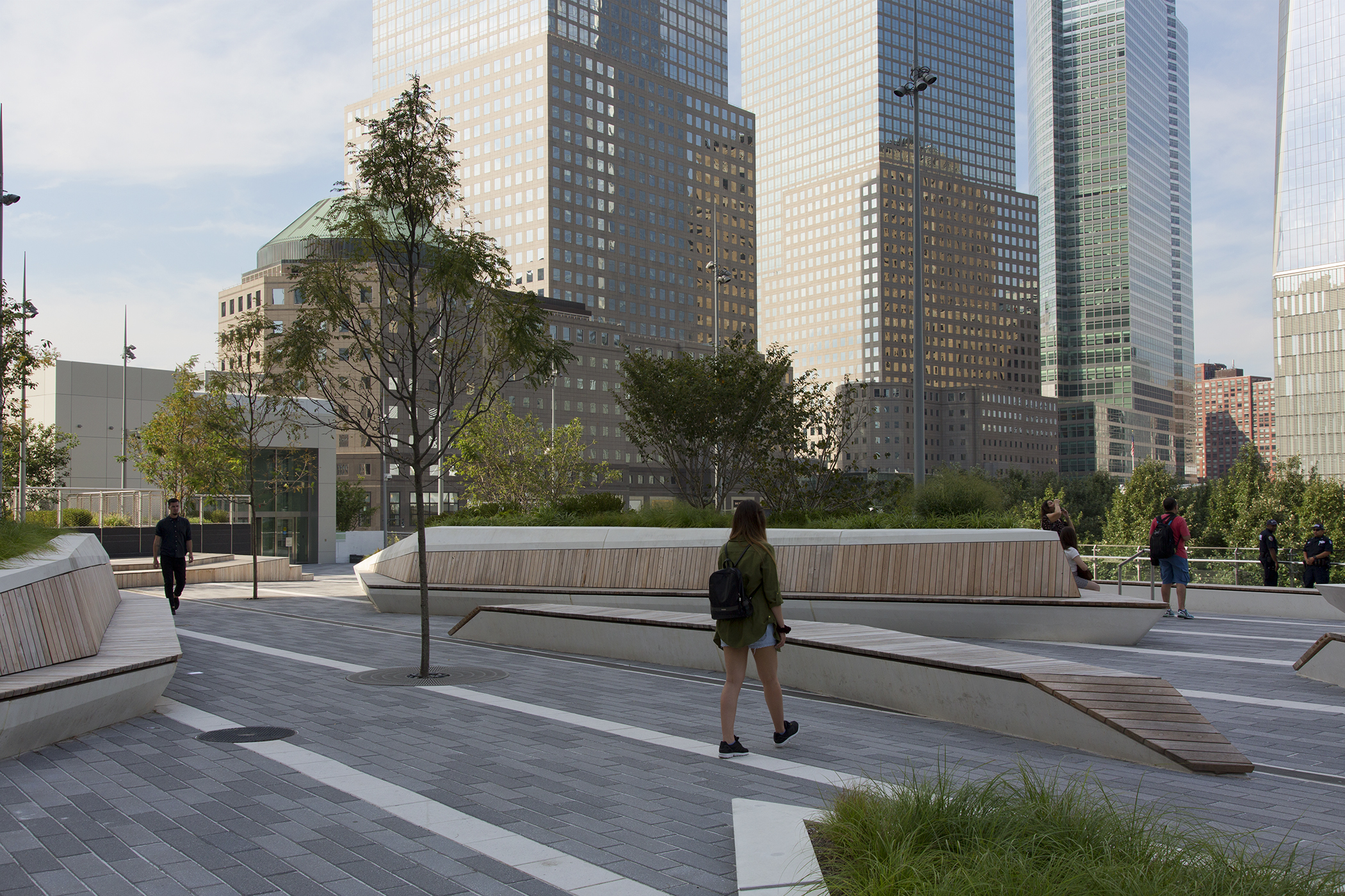 Liberty Park, an elevated park connected to Brookfield Place, overlooks the September 11 Memorial and Museum, New York.