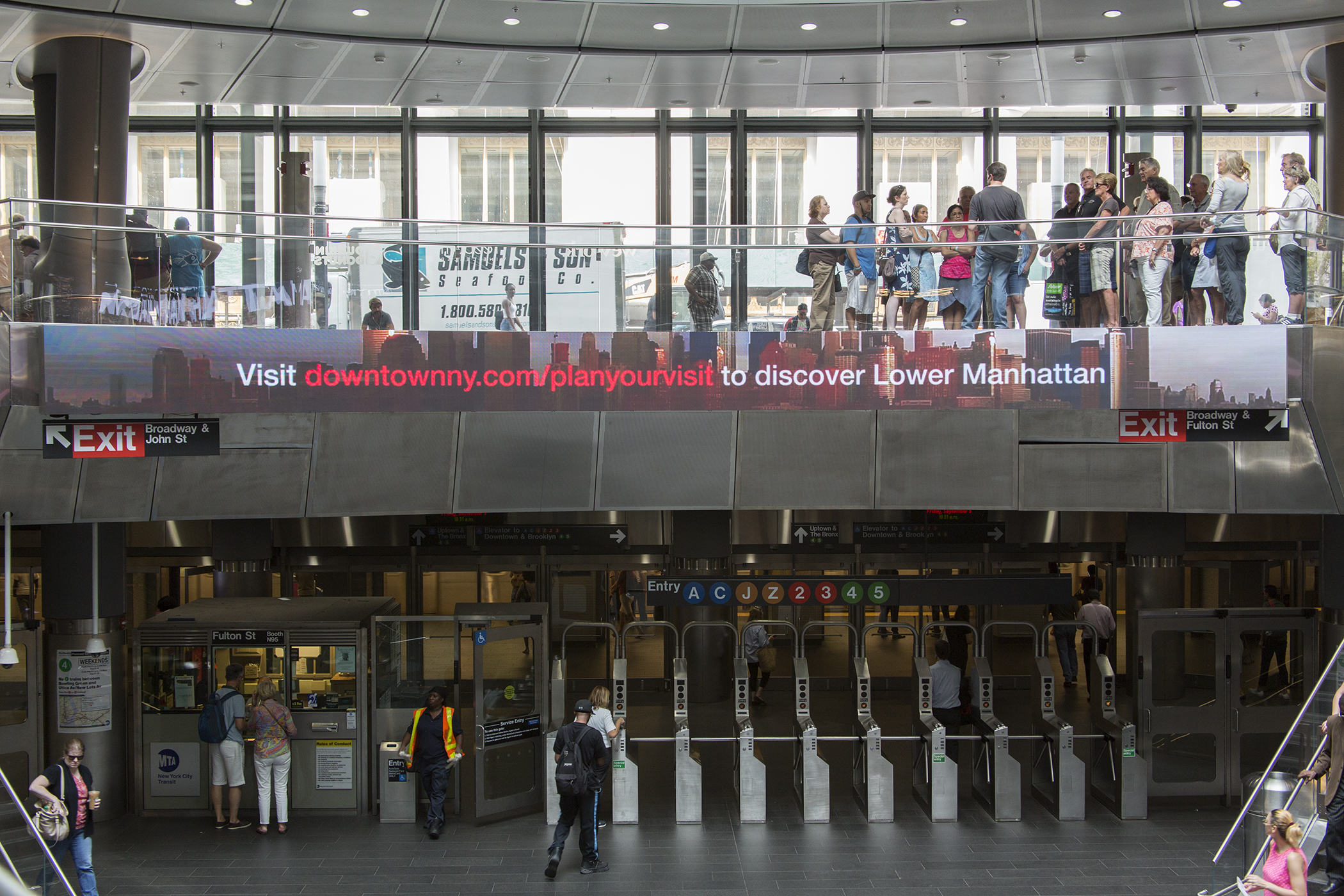 The entrance to the subway at Fulton Center, New York.