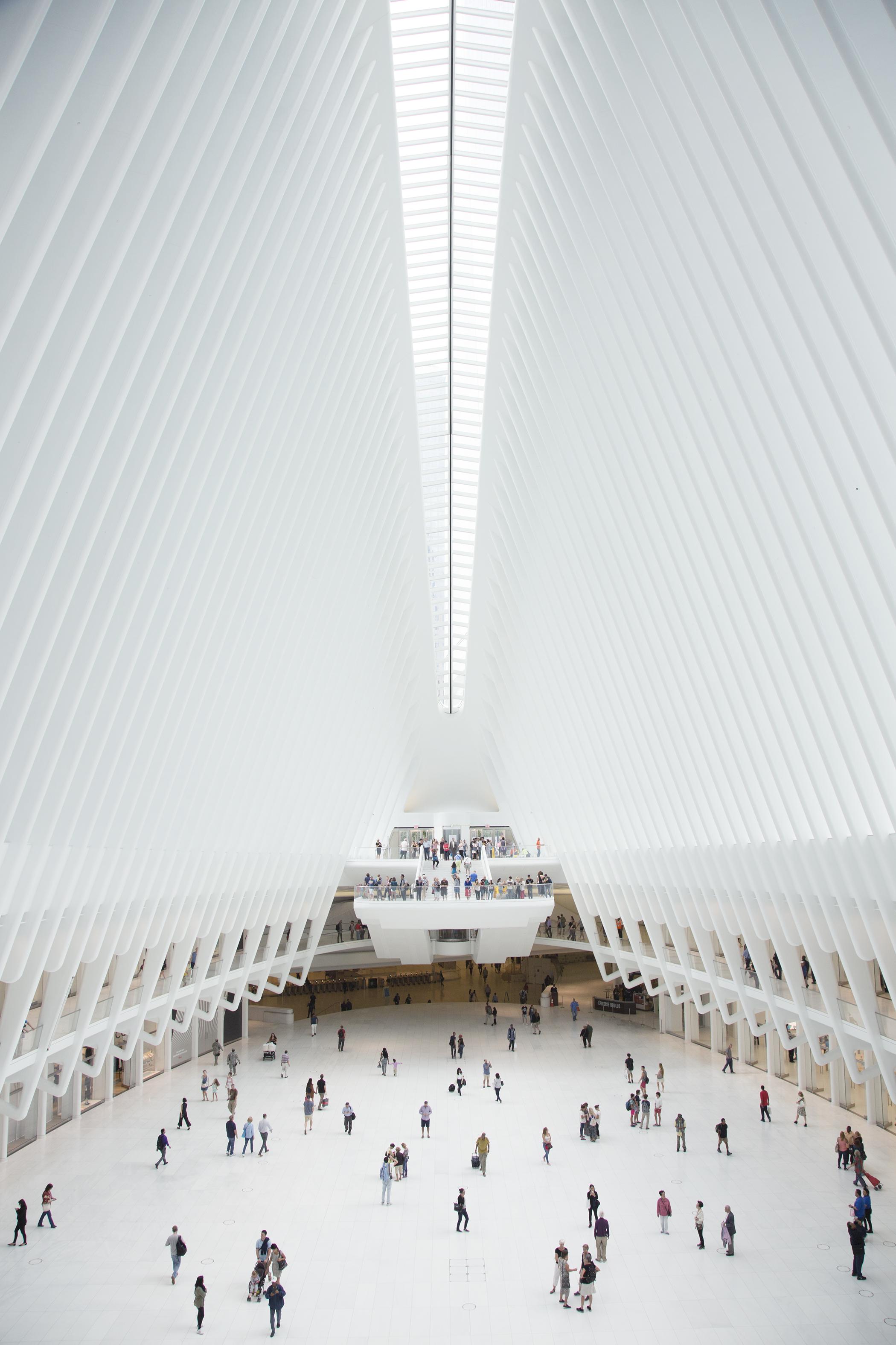 Santiago Calatrava's Oculus design inside of the World Trade Center transportation hub.