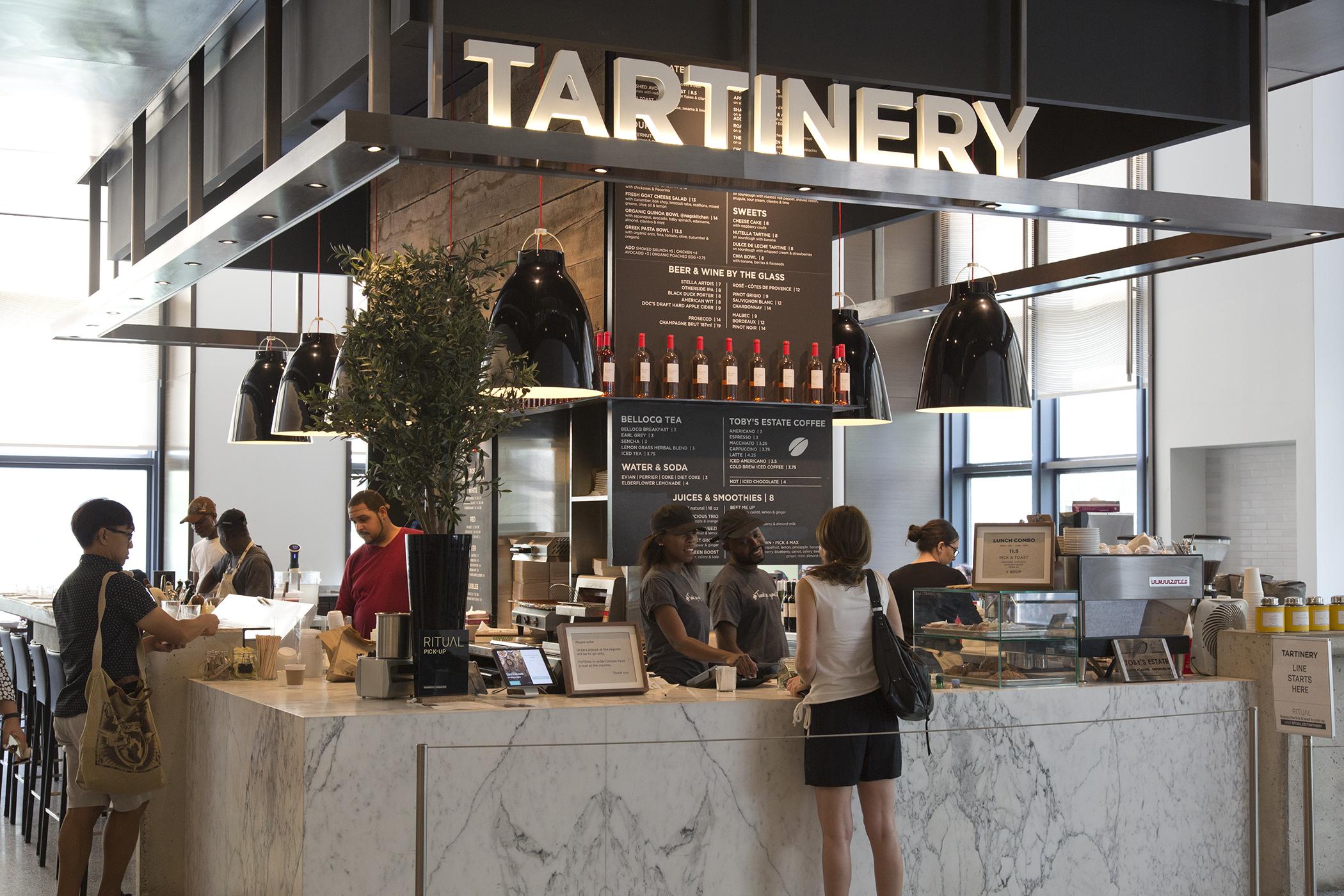Tartinery restaurant inside of Hudson Eats food court, Brookfield Place.