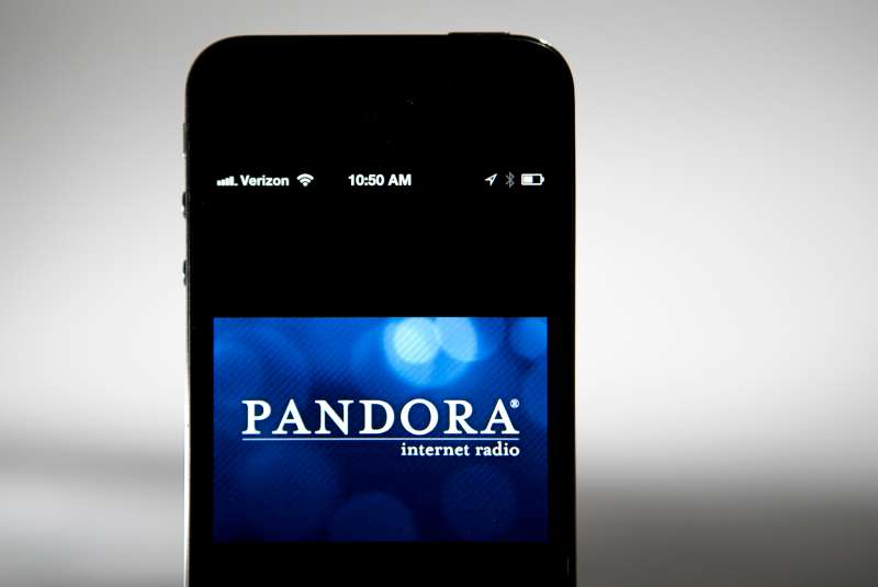 The Pandora logo is seen on an Apple Inc. iPhone displayed for a photograph in Washington, D.C., on Sept. 17, 2013.