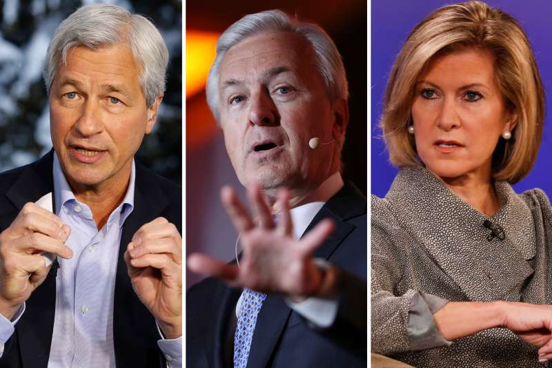 (left to right) Jamie Dimon, John Stumpf and Mary Callahan Erdoes