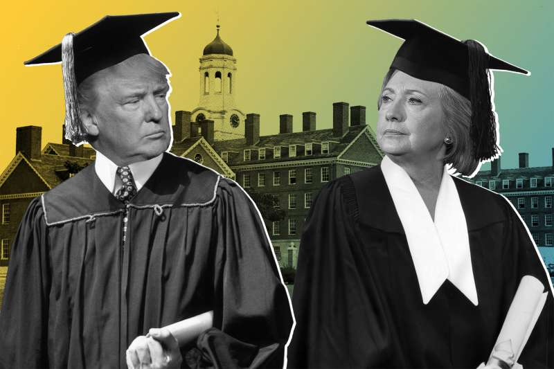Photo illustration of Donald Trump and Hillary Clinton dressed as graduates in front of a school building