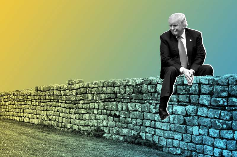 Photo illustration of Donald Trump sitting on a stone wall