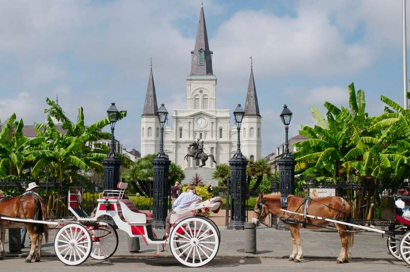 Horses and carriages outside St Louis Cathedral at Jackson Square, New Orleans