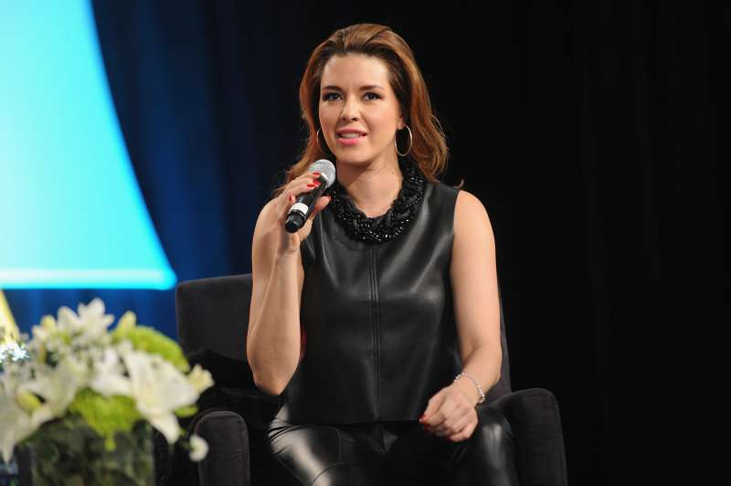 Venezuelan actress Alicia Machado speaks on stage at Festival PEOPLE En Espanol 2015 presented by Verizon at Jacob Javitz Center on October 17, 2015 in New York City.