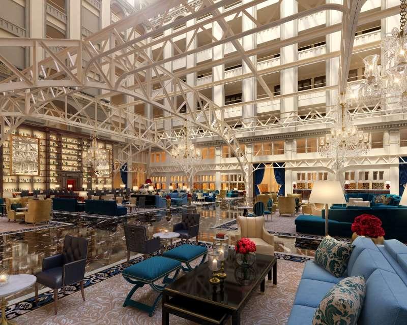 The Grand lobby inside the new Trump Hotel in Washington, DC.