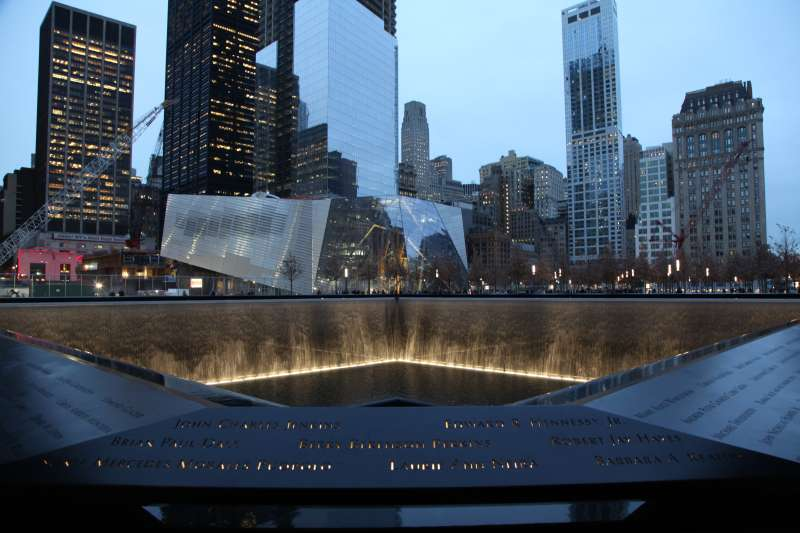 A view of the North reflecting pool on the 9/11 Memorial and Museum Plaza.