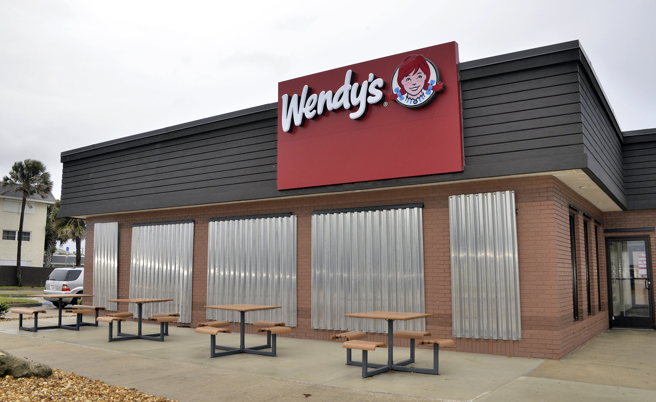 A Wendy's restaurant in  Indialantic is closed for the coming hurricane on October 6, 2016. Hotels and businesses in Florida cities and towns like Indialantic, Melbourne and Melbourne Beach are closed, and people stock water, food and gas to be prepared for the potentially devastating storm.