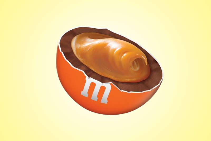 The new chocolate candy is filled with a soft caramel center, providing a perfect smooth texture in every piece.
