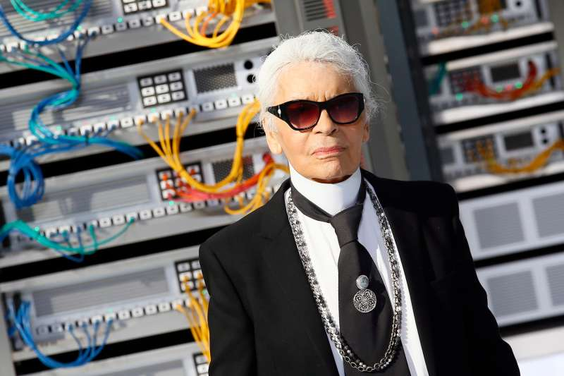 Fashion designer Karl Lagerfeld appears at the end of the presentation of Chanel's Spring-Summer 2017 ready-to-wear fashion collection presented Tuesday, Oct.4, 2016 in Paris.