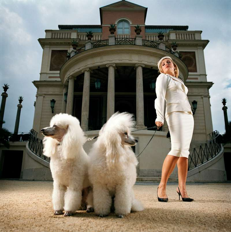 Woman and two poodles in front of building, low angle view