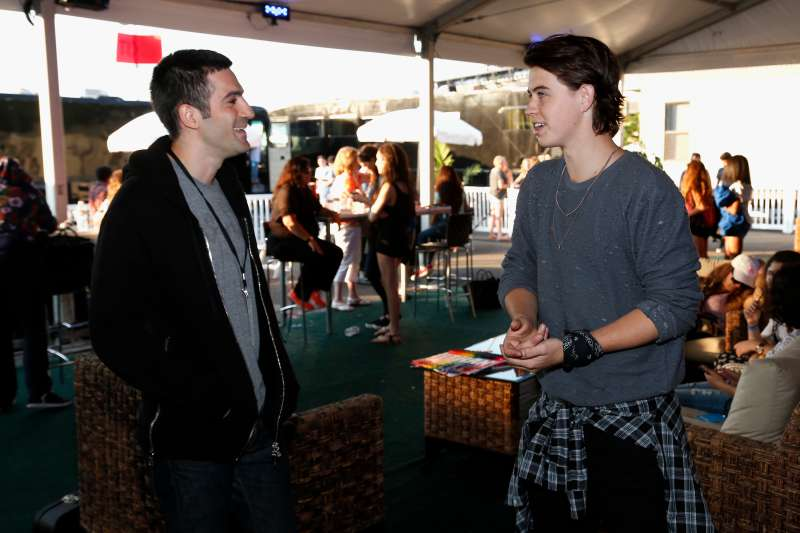 Co-founder of Vine Rus Yusupov (L) speaks to internet personality Nash Grier during DigiFest NYC 2015.