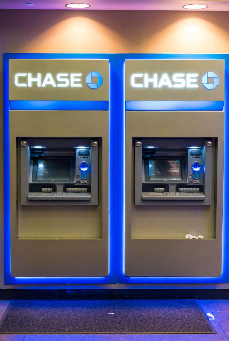 Chase bank ATMs or automated teller machines in New York