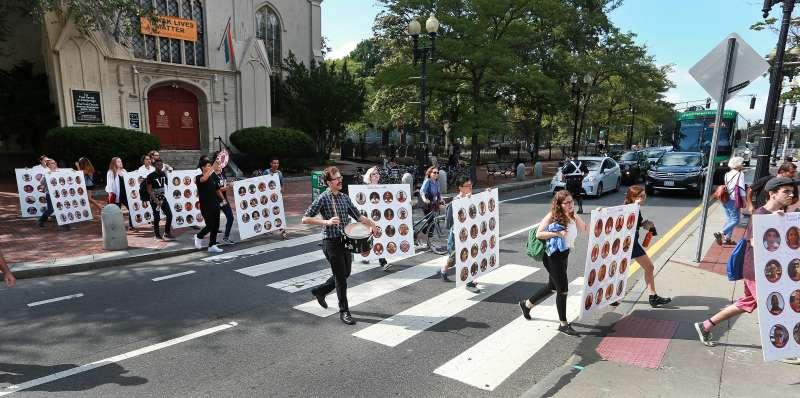 Harvard dining workers strike in September.