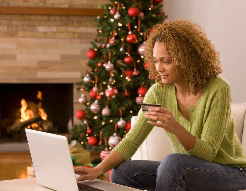 Mixed race woman shopping online