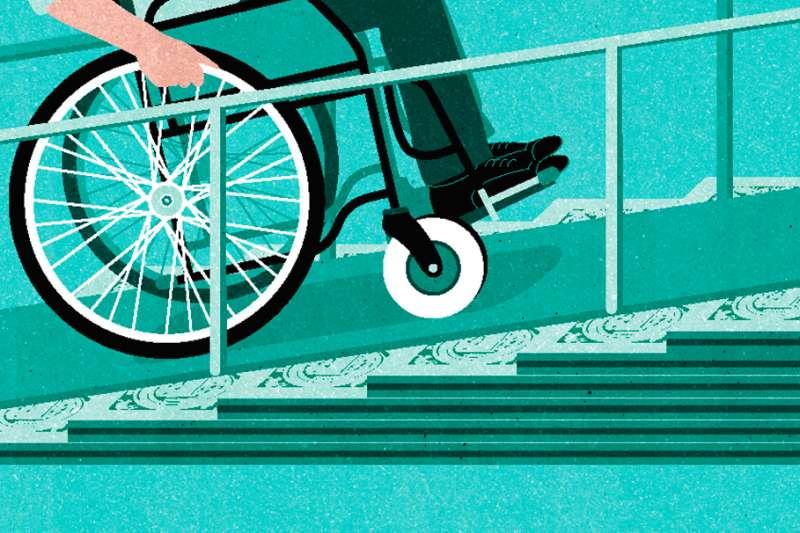 illustration of wheelchair on ramp