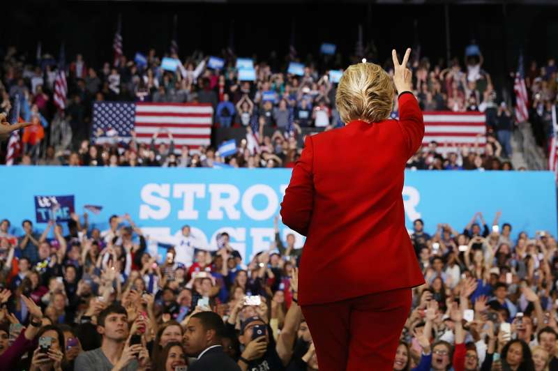 Democratic presidential nominee former Secretary of State Hillary Clinton greets supporters during a campaign rally at North Carolina State University on November 8, 2016 in Raleigh North Carolina.