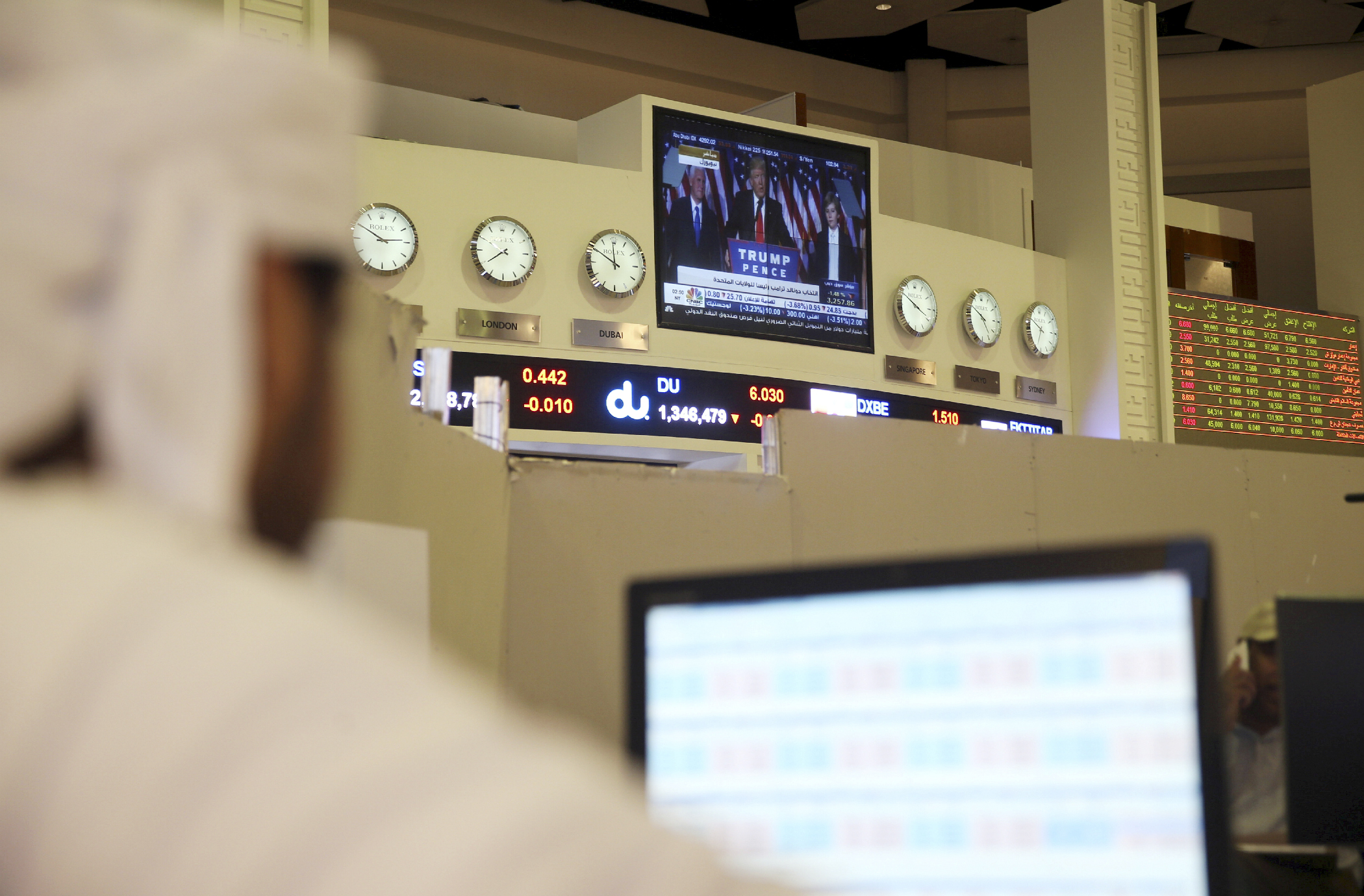 "A trader watches Trump on  TV as Dubai's stock market falls. The one upside for traders there? The U.S. <a href=""http://www.reuters.com/article/mideast-stocks-idUSL8N1DA5IB"" target=""_blank"">doesn't do much trade</a> with countries like Dubai, so Trump's protectionist trade policies may not impact them directly."