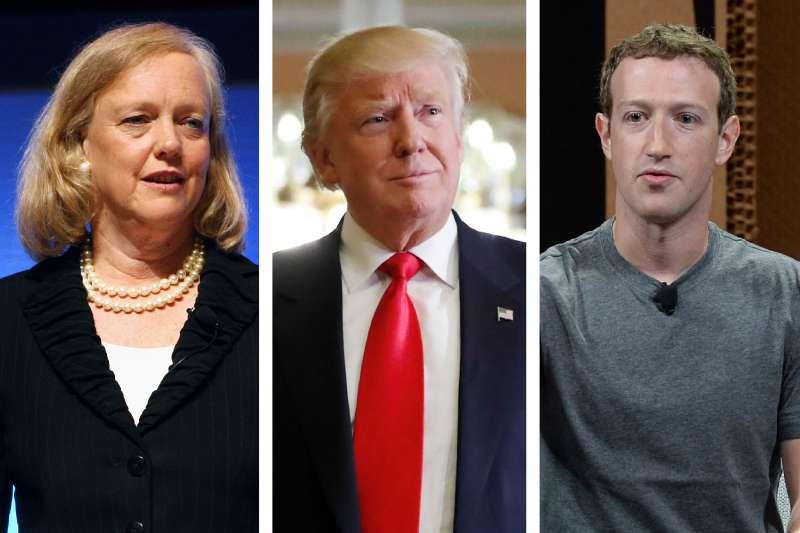 Meg Whitman, Donald J. Trump, Mark Zuckerberg