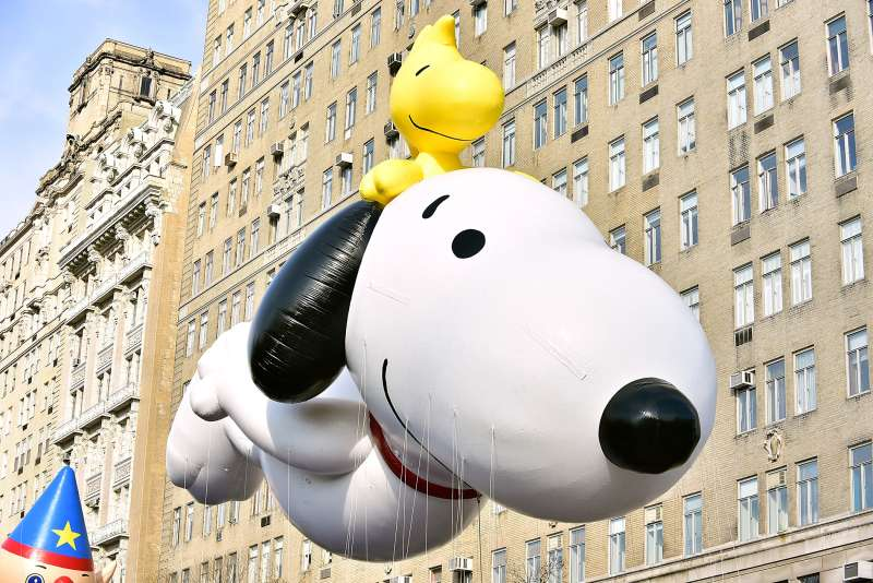 View of Snoopy and Woodstock balloon at the 89th Annual Macy's Thanksgiving Day Parade