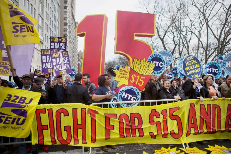 A previous  Fight for $15  rally in support of minimum wage increase was held in New York City on April 15, 2015.
