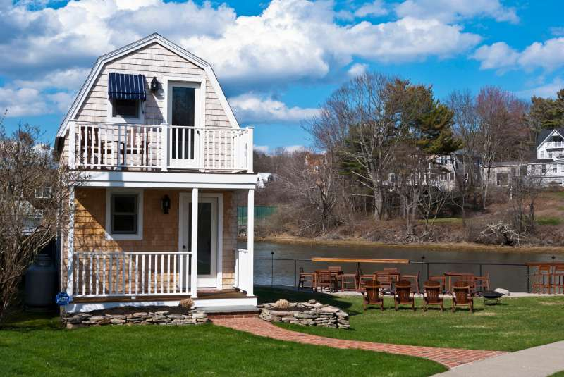Small building on the Kennebunk River in Kennebunk Maine.