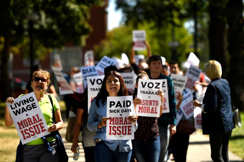 Workers protest in Denver, Colorado for a minimum wage hike.