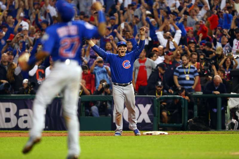 Anthony Rizzo of the Chicago Cubs celebrates after catching the final out to defeat the Cleveland Indians in Game 7 of the 2016 World Series
