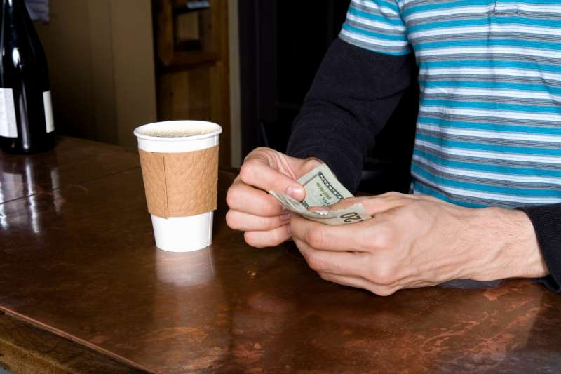 Paying for a take-away coffee