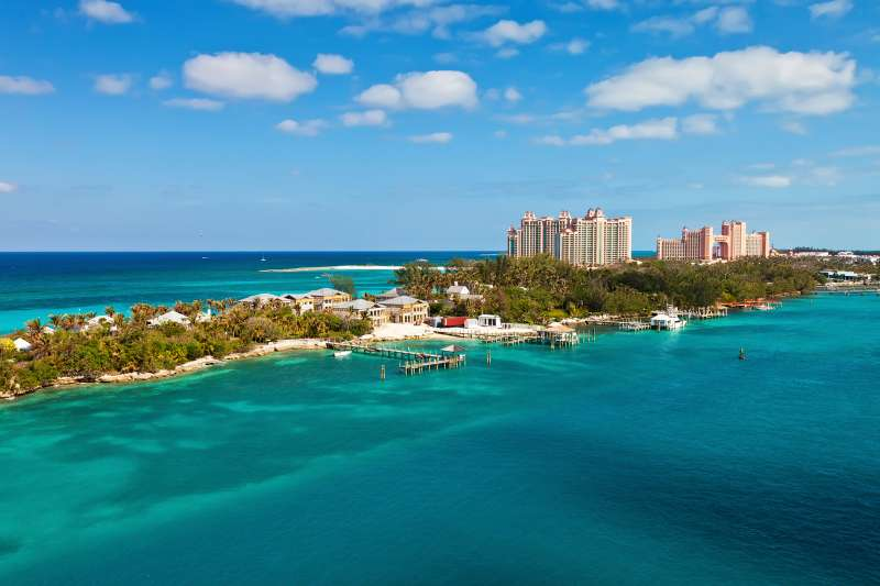 Long stretch of Paradise Island, located in Nassau, Bahamas.