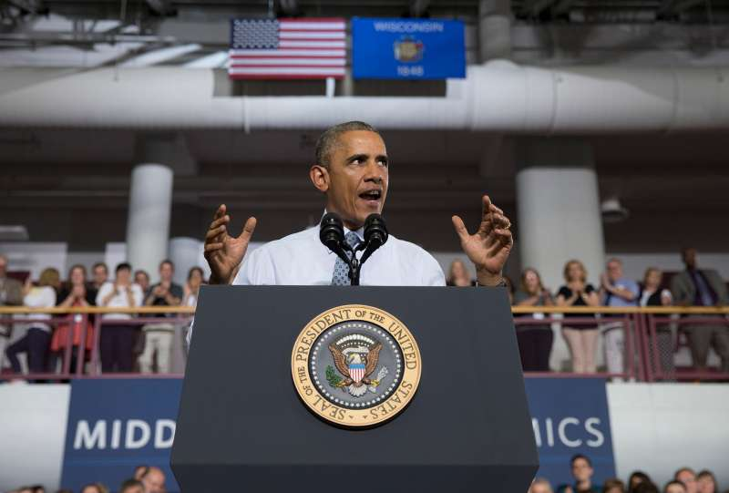 At a July speech at the University of Wisconsin at La Crosse,  President Obama promotes a proposed Labor Department rule that would make more workers eligible for overtime.