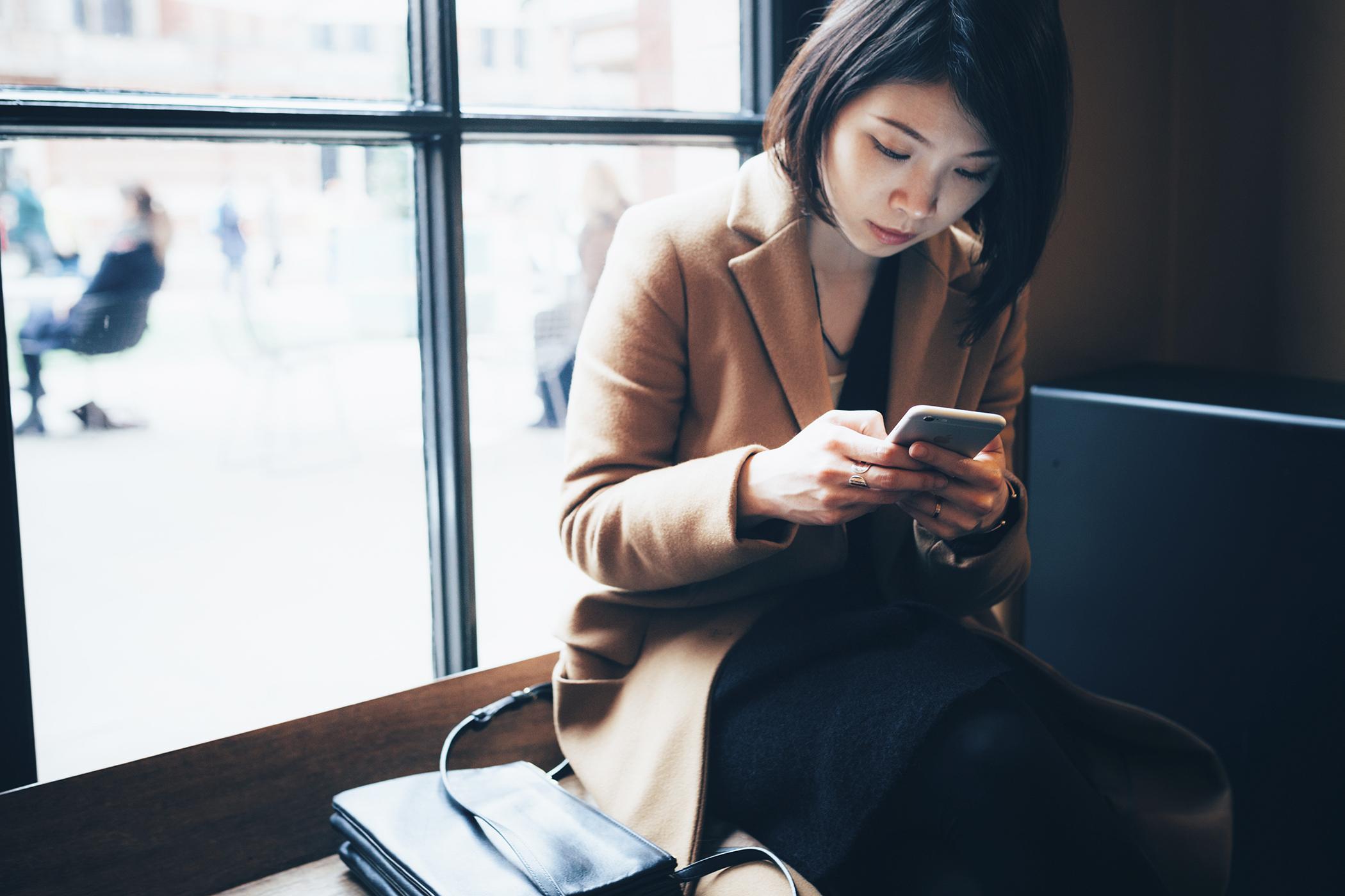 Worker on smartphone
