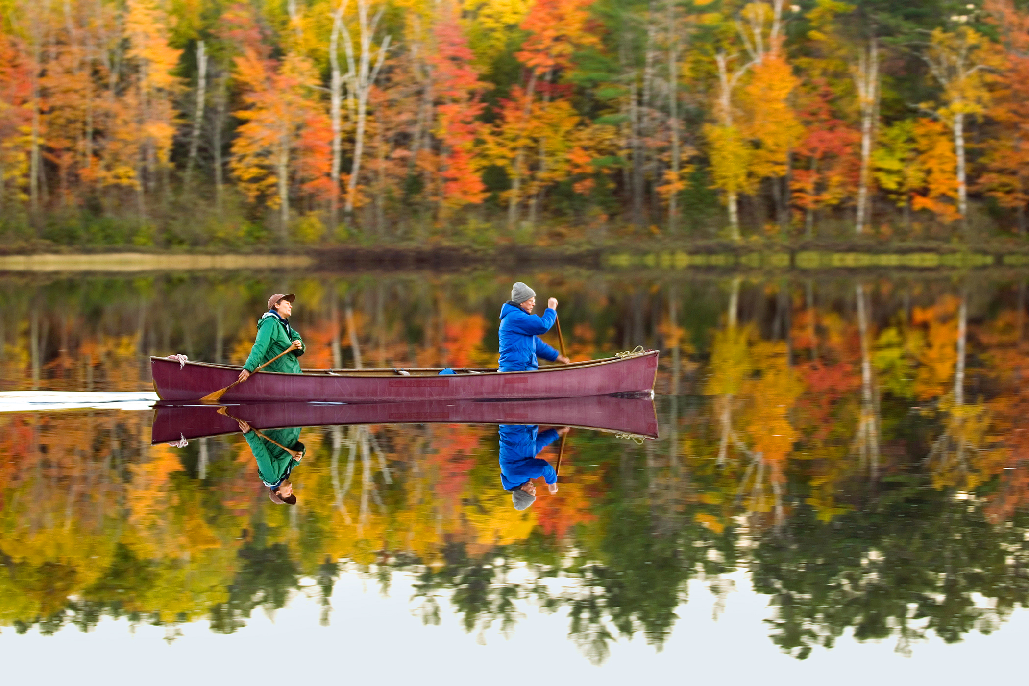 A pair of canoeists paddle