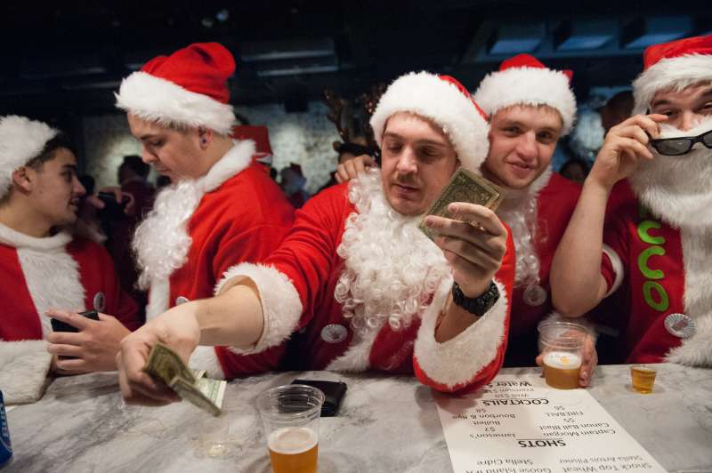 Santacon events in New York City have raised more than $200,000 for charity.