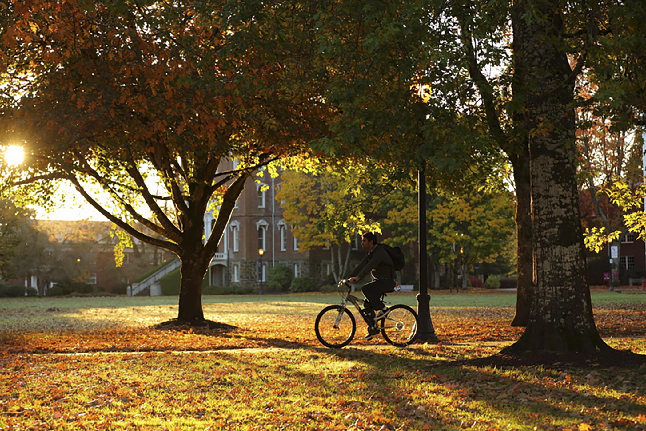 Biking on Linfield campus.