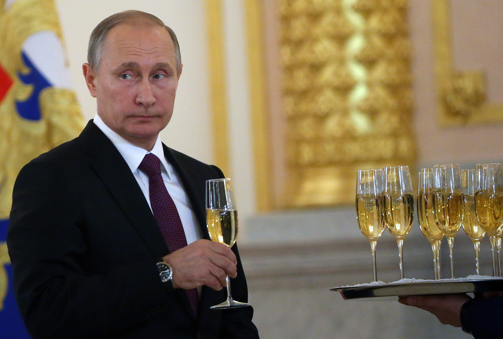 Putin Drinking Champagne