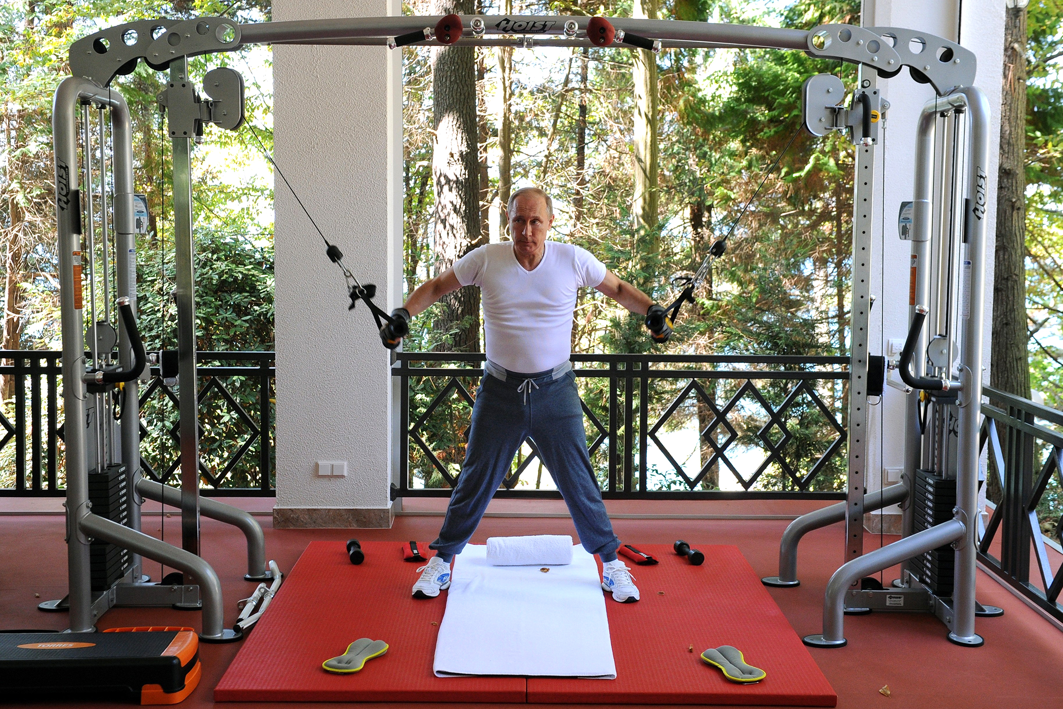 Putin working out in cashmere sweatpants