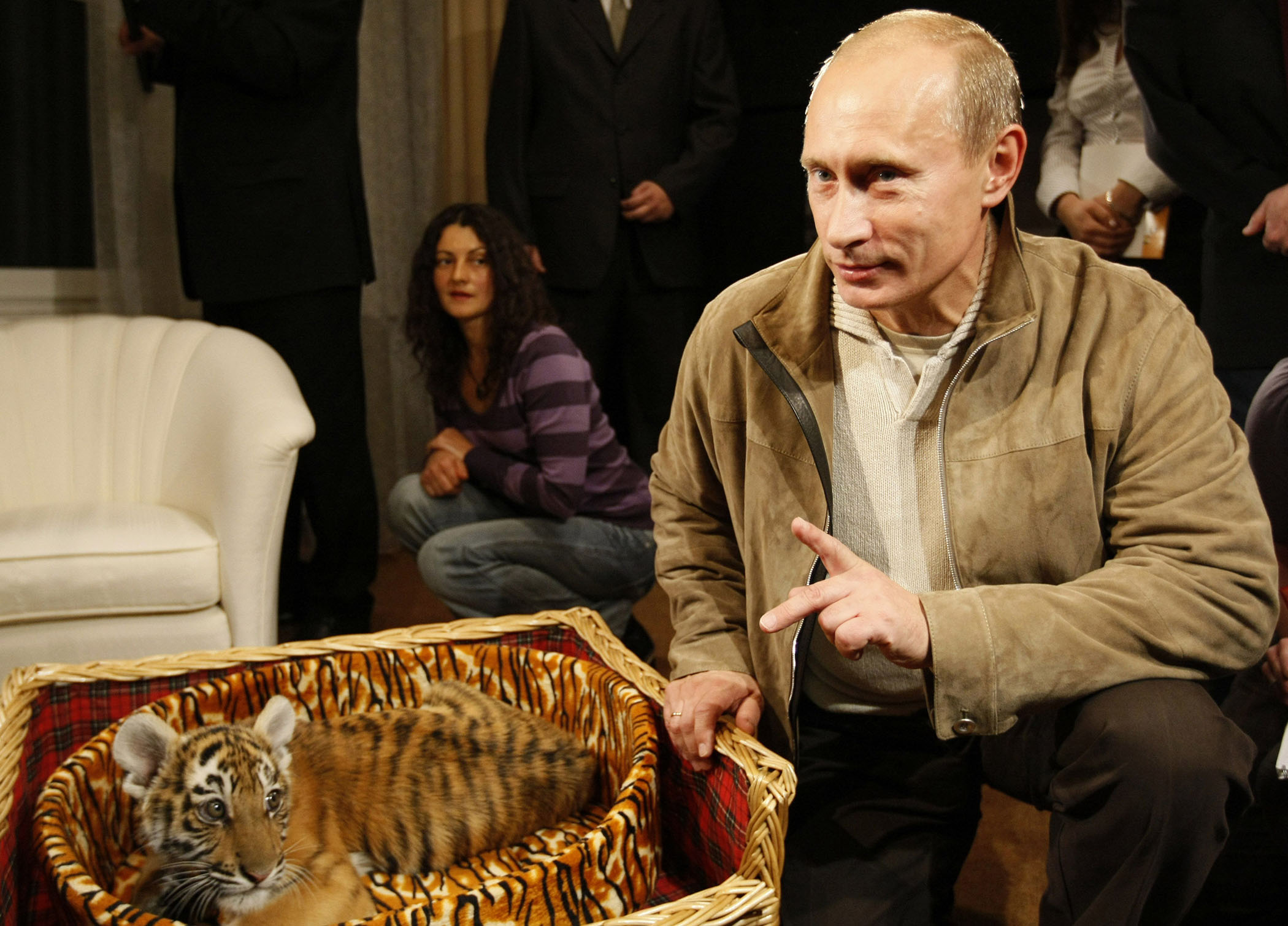 Putin Recieves Baby Tiger for Birthday
