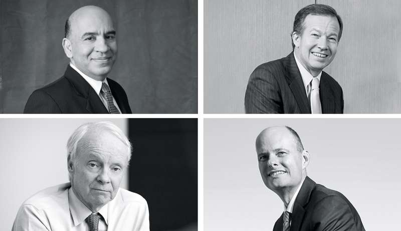 From top left: Sudhir Nanda, T. Rowe Price QM U.S. Small-Cap Growth Equity and Charles Pohl, Dodge & Cox Stock and William Browne Tweedy, Browne Global Value and Todd Ahlsten, Parnassus Core Equity.