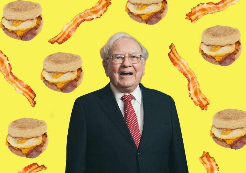 Warren Buffet with Delicious Breakfast Food