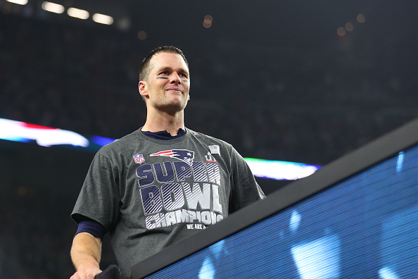 Tom Brady #12 of the New England Patriots celebrates after winning Super Bowl 51 against the Atlanta Falcons at NRG Stadium on February 5, 2017 in Houston, Texas. The New England Patriots defeated the Atlanta Falcons 34-28.