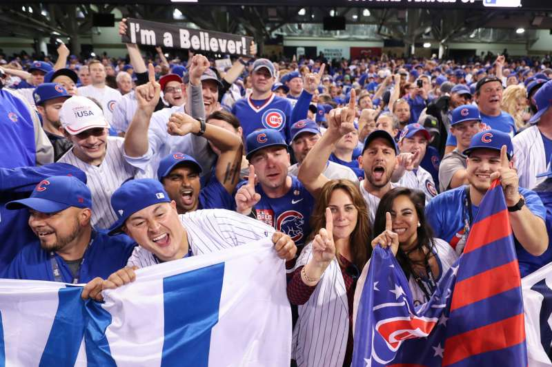 Chicago Cub fans celebrate after winning game 7 of the 2016 World Series against the Chicago Cubs and the Cleveland Indians at Progressive Field in Cleveland, OH. Chicago defeated Cleveland 8-7 in 10 innings.